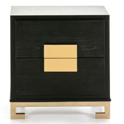 Loa bedside table wood black and golden by Latzio