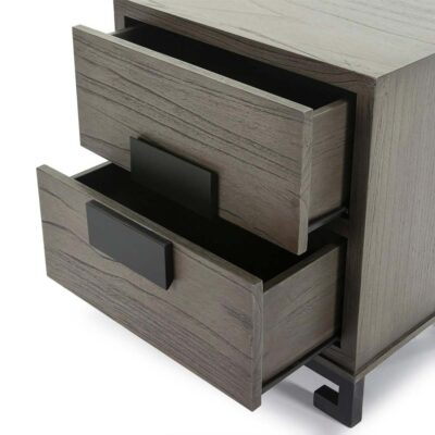 Loa bedside table wood grey and black by Latzio