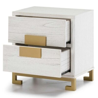 Loa bedside table wood white and golden by Latzio