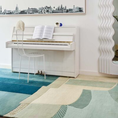 lines and curves blue Lobby rug by Toulemonde