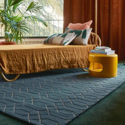 blue geometric Ludo rug made from recycled materials by Toulemonde