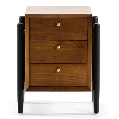 Maipo bedside table wood brown and black by Latzio