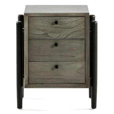 Maipo bedside table wood grey and black by Latzio