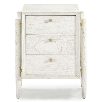 Maipo bedside table wood white by Latzio
