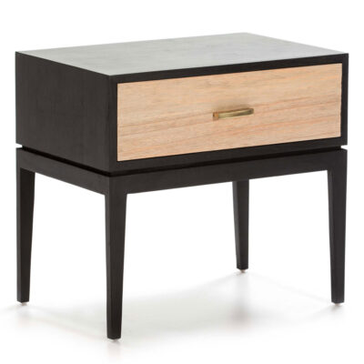 Pune bedside table wood black and grey by Latzio