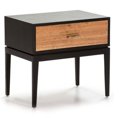 Pune bedside table wood black and natural by Latzio