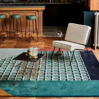 square graphic turquoise Rimini rug by Toulemonde