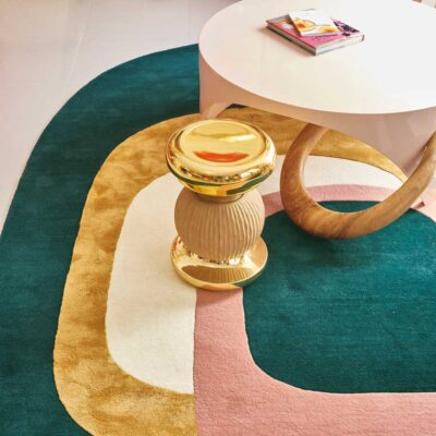 curvy green pink and gold Spirit rug by Toulemonde