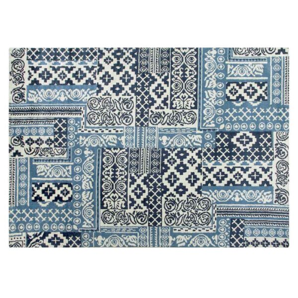 blue cement tile pattern Tessel rug bu Toulemonde