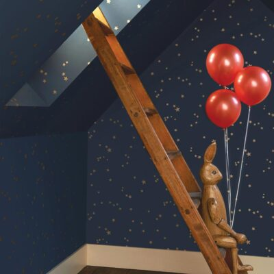 blue wallpaper with stars by Cole & Son