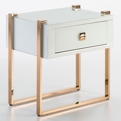 Yangon bedside table rose gold stainless glass white by Latzio