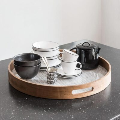 white and brown resin tray Honolulu by Must Living