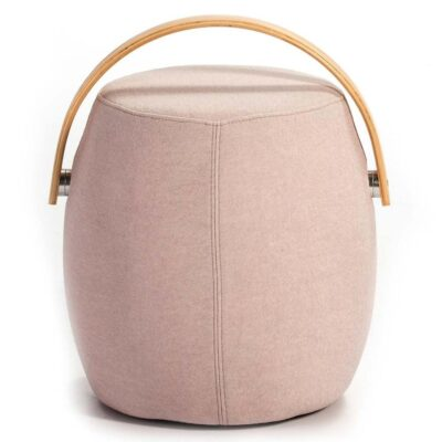 Otra natural wood stool fabric beige by Latzio