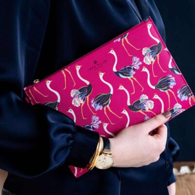 pink pouch with ostrich by Sara Miller