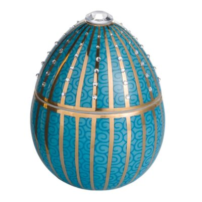 blue egg with golden stripe Faberge by Ladenac