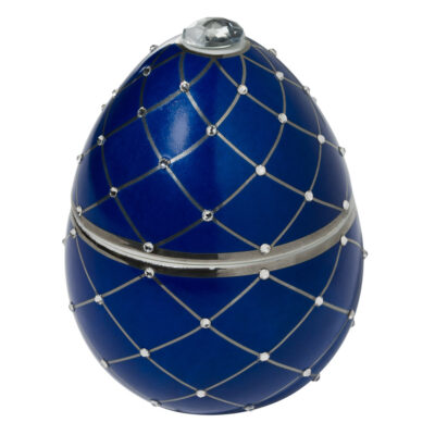 blue egg with silver stripe Faberge by Ladenac