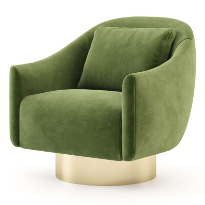 handmade green velvet armchair with gold base by Laskasas