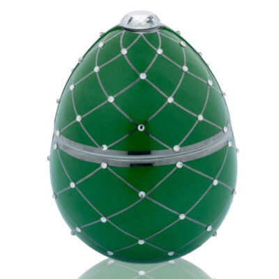 green egg with silver stripe Faberge by Ladenac