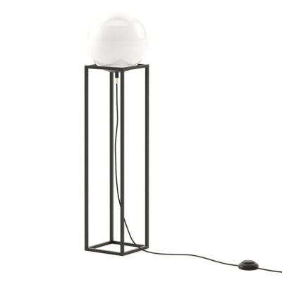 handmade globe floor lamp with metallic base by Laskasas
