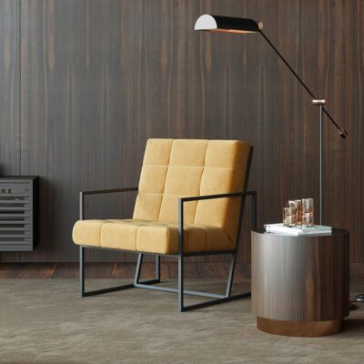 handmade black structure floor lamp with metallic details by Laskasas