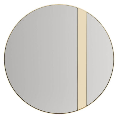 handmade round mirror with gold details by Laskasas