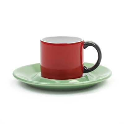 set espresso cup and saucer red and green by Jansen+co