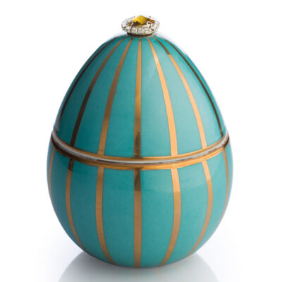 turquoise egg with golden stripe Faberge by Ladenac