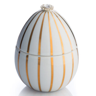 white egg with golden stripe Faberge by Ladenac