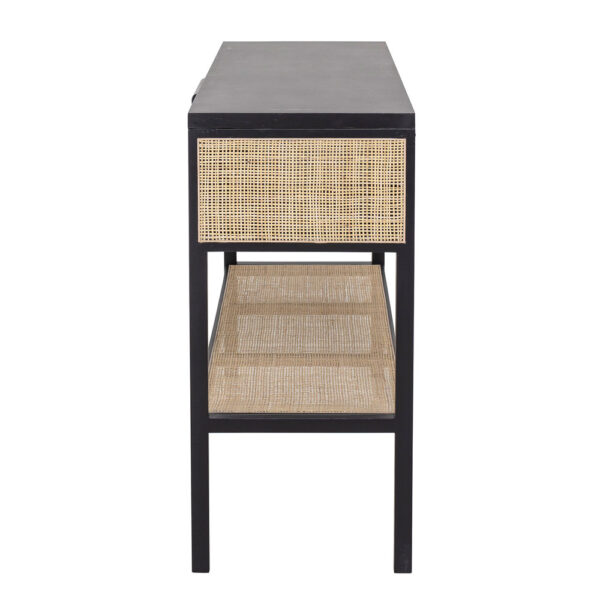 Black Pine Rattan Console Table by Bloomingville