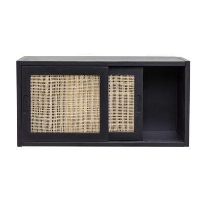 Black Pine Rattan Cabinet by Bloomingville