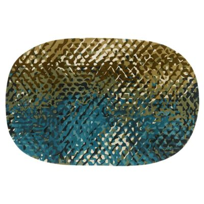 Apidea blue green oval rug designed by Samuel Accoceberry by Toulemonde Bochart