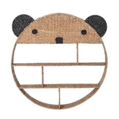 rattan bear bookshelf by Bloomingville