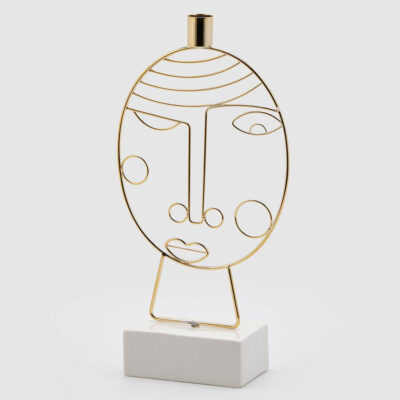 Candle holder gold face metal by EDG