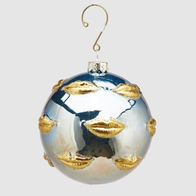 Christmas bauble blue and gold with lips by EDG