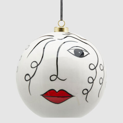 Christmas bauble ceramic face by EDG