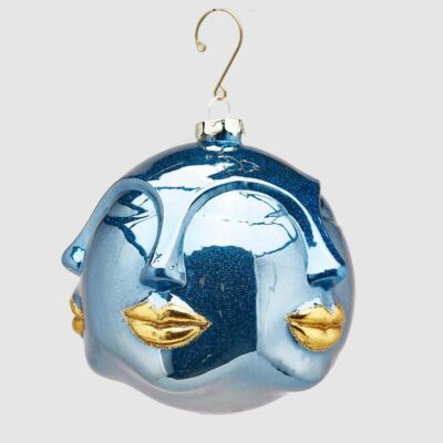 Christmas bauble blue faces with gold lips by EDG