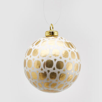 Christmas bauble white and gold spots by EDG