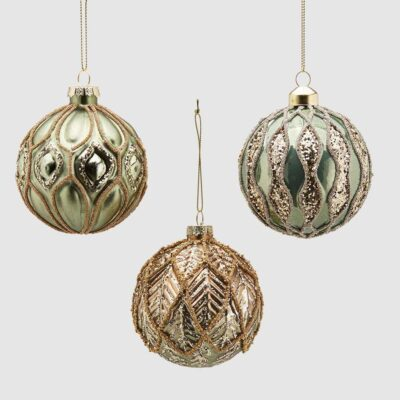 Set of 3 Christmas baubles green and gold by EDG