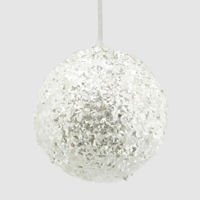 Christmas baubles white glitter by EDG