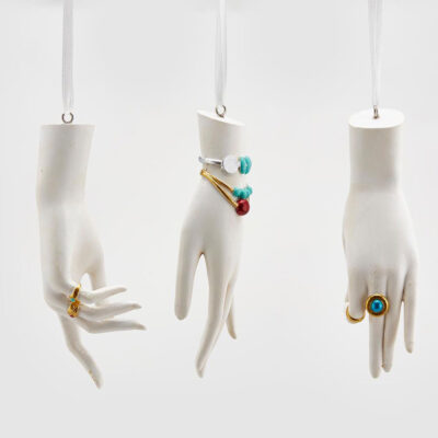 Christmas tree decorations 3 white hands by EDG