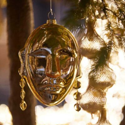 Christmas tree decorations face gold by EDG