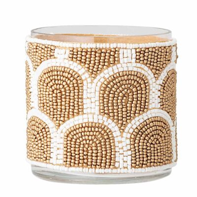 Embellished glass votive by Bloomingville