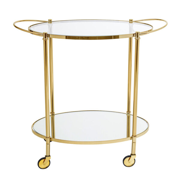 Gold drink trolley with glass top by Bloomingville