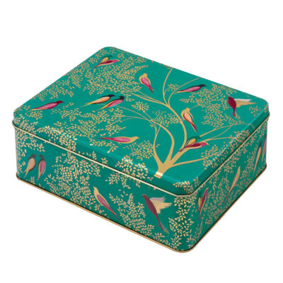 Green and gold rectangular tin box with birds by Sara Miller