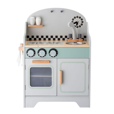 Grey mini kitchen set made of wood by Bloomingville