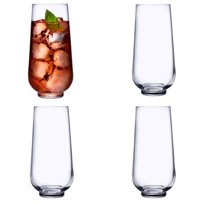 Set of 4 handmade Long Drink Glasses by Nude
