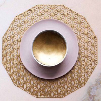 Kaleidoscope Round Brass placemat