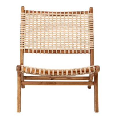 Keila lounge chair in teak wood and rattan by Bloomingville