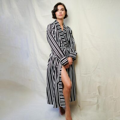 Kensington Sateen black & white Stripe long robe by Fable and Eve