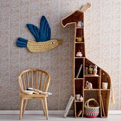 Kids rattan giraffe bookcase by Bloomingville